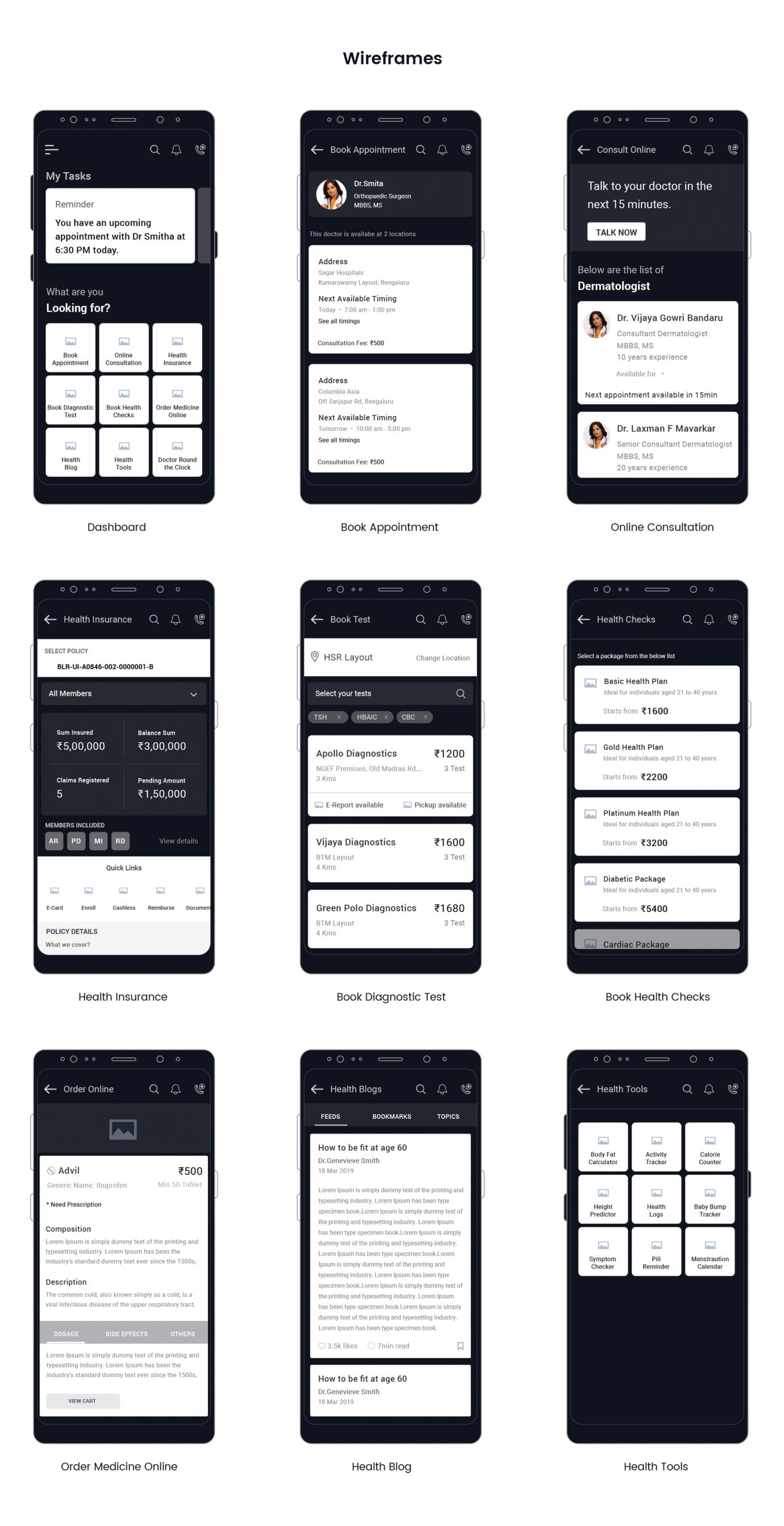 Mobile Health App - Wireframes