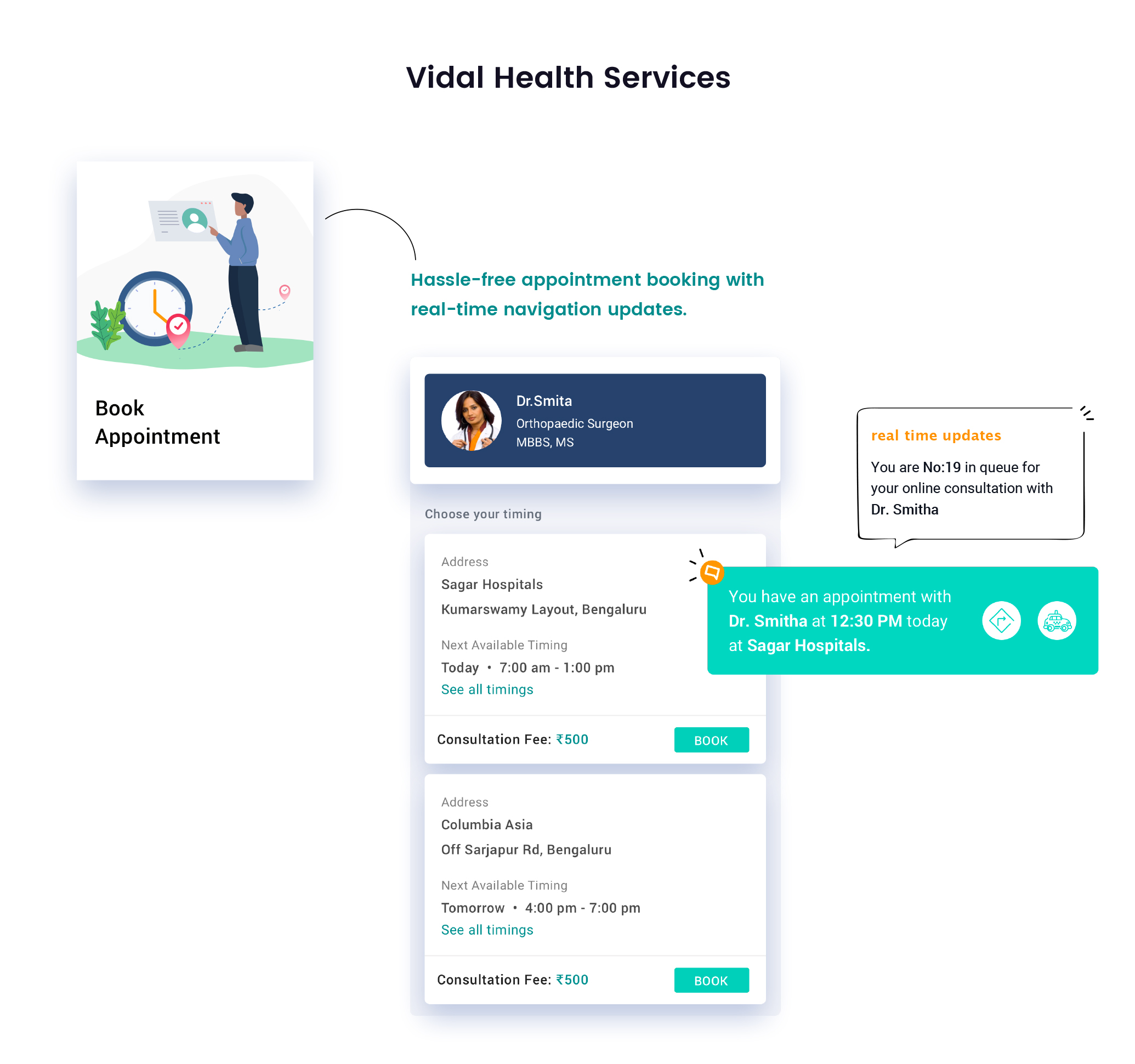 Vidal Health App - Homescreen