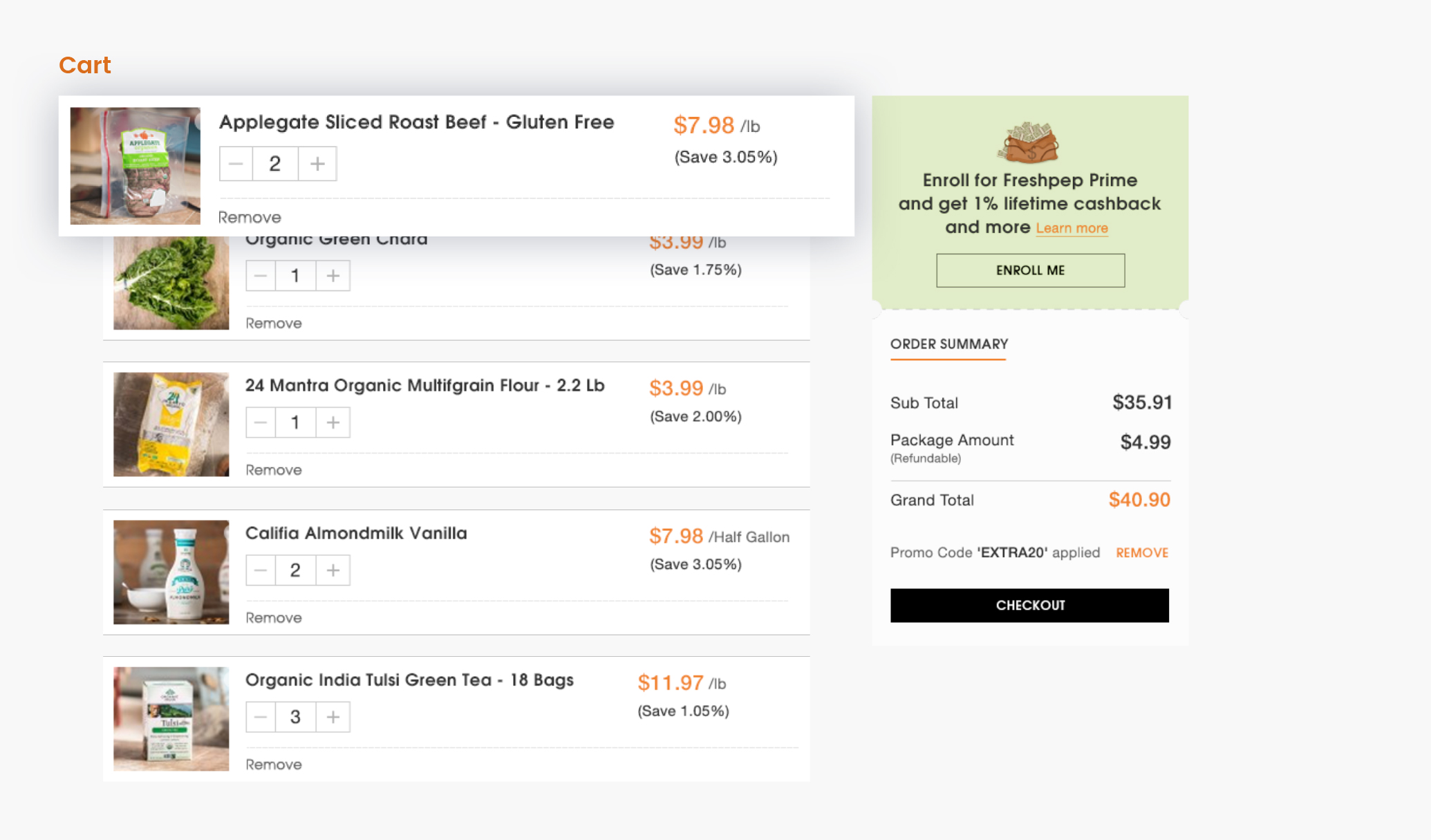 Online Shopping Dashboard - Cart Page Design